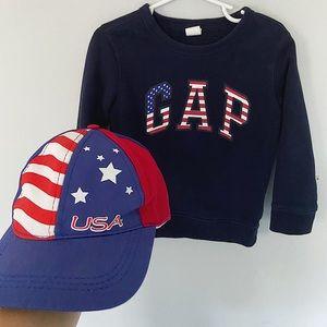 Baby Gap USA sweatshirt and USA hat
